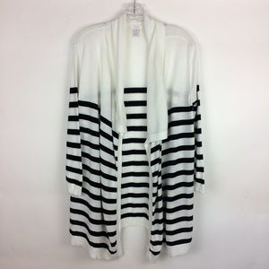 Chico's 2 Open Front Stripe Cotton Rayon Cardigan